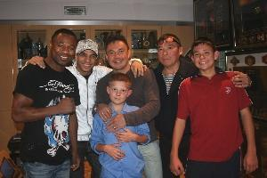 Mosley, Dib & Tszyu with Tszyu's sons Nikita, Timophey & father Boris
