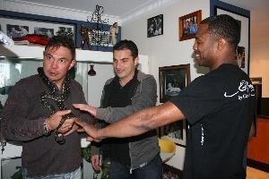 Mosley and Dib's brother/manager Emaid pat Tszyu's python