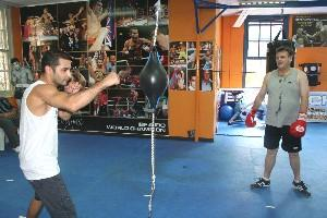 Vic Darchinyan on the floor to ceiling ball