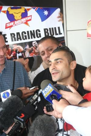 Vic Darchinyan surrounded by the media
