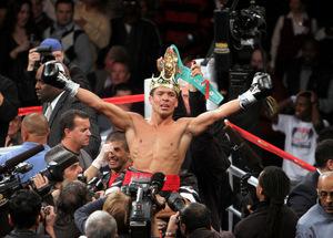 Sergio Martinez celebrates victory