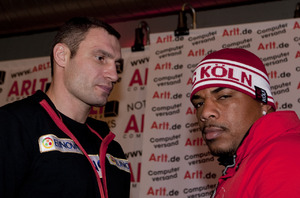 vitali Klitschko and Solis at the press conference