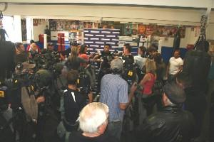 A media scrum at Tuesday's John Hopoate press conference