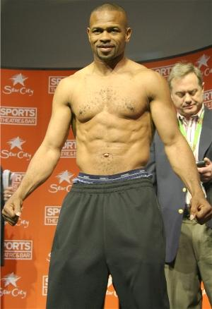 Roy Jones Jr flexes for the fans