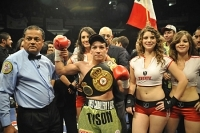 Hernan Marquez shows off his belt