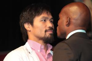 Pacquiao and Bradley square up to each other (Mary Ann Owen)