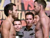 (L) Chavez 159 lb, (R) Lee 159.25lb - Photo © Chris Farina / Top Rank