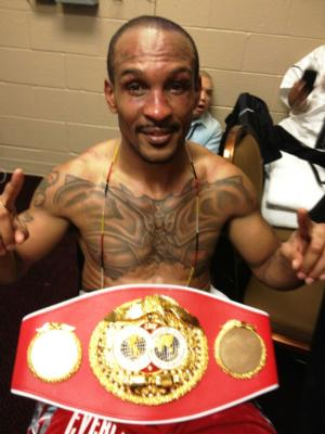 Randall Bailey shows off his IBF belt