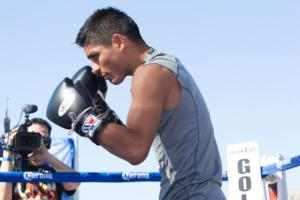 Mares works out in the Los Angeles Sun