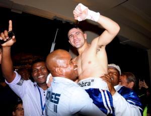 Angelo Santana celebrates victory