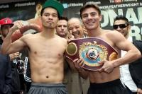 Donaire and Arce pose for the media (Pic Chris Farina)