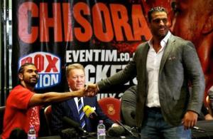 Charr shakes hands with Haye
