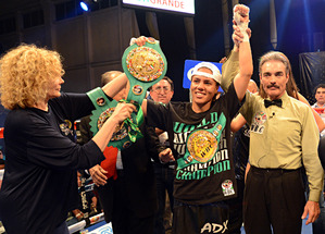Knight with her WBC title
