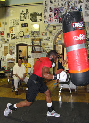 Jennings hits the heavy bag