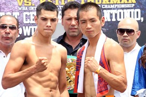 Figueroa and Arakawa pose for the media