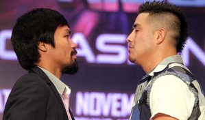 Pacquiao and Rios face off (pic Chris Farina)