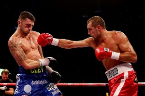 Kovalev lands a right hand on Cleverley