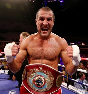 Kovalev shows off the WBO belt
