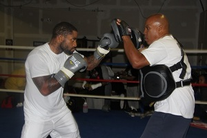 Curtis Stevens on the pads
