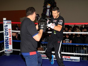 Froch on the pads with McCracken at media work out