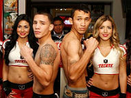 (L-R) Oscar Valdez, Cristian Barajas / both weighed 129lbs (Photo © Chris Farina / Top Rank)