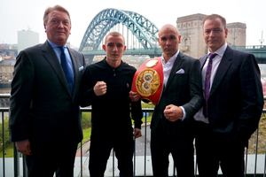 Hall and Butler flanked by Promoters Frank Warren and Dennis Hobson