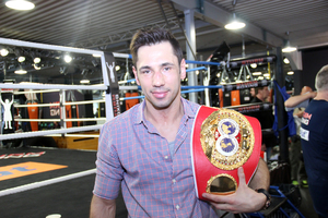 Sturms shows off his world title belt