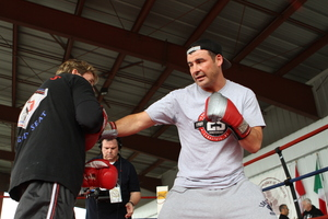 Calzaghe works out with a fan