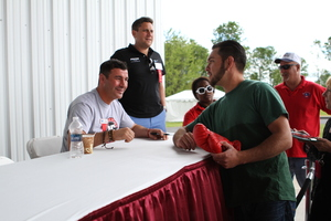 Calzaghe signs autographs