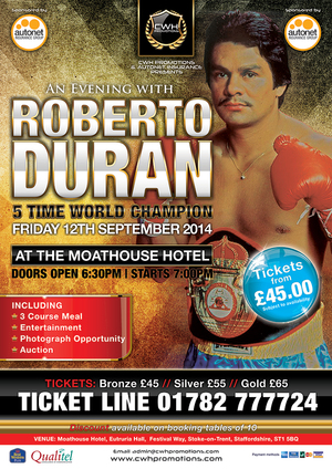 """Hands of Stone"" Roberto Duran to hit the UK in September"