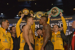 Video: Golovkin and Monroe Make Weight