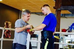 Wallin with trainer Joey Gamache