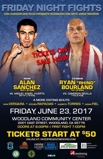 Sanchez, Bouland headline explosive card June 23 in Woodland,CA