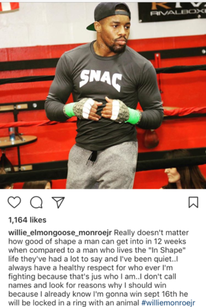 MONROE JR TAKES SWIPE AT SAUNDERS' PHYSIQUE