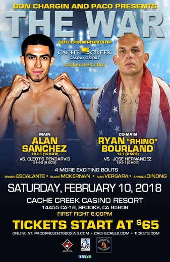 War at Cache Creek Feb.10: Alan Sanchez and Ryan Bourland expected to bring it