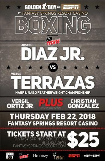 Undefeated Diaz to face Terrazas Feb.22