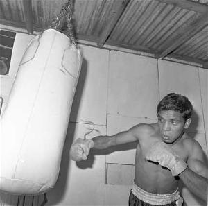 Lionel Rose hits the bag in his prime