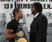 Audley Harriison and David Haye face off (pic Lawrence Lustig)
