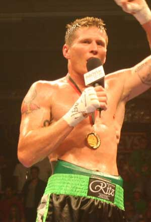 Danny Green, talks to the crowd after his win in Perth